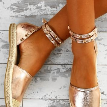 Dream Destination Rose Gold Studded Espadrilles
