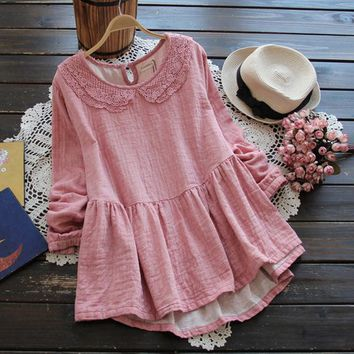 Forest Mori Girl 2017 Spring Women's Peter Pan Collar Lace Embroidery long-sleeve Solid Color School dress Japanese Style 8245