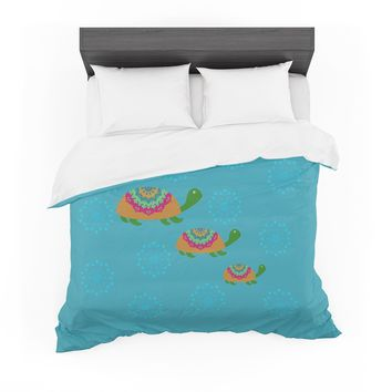 "Cristina bianco Design ""The Turtles"" Teal Orange Featherweight Duvet Cover"