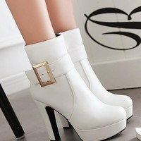 New Women White Round Toe Chunky Buckle Add Feathers Casual Ankle Boots