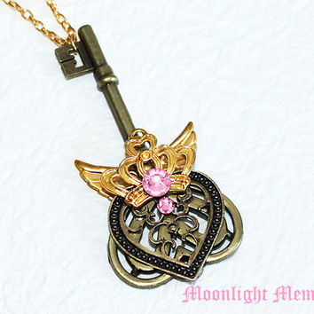 Sailor Moon Necklace - Kaleido Moon Scope Inspired by Sailor Moon - Gold Crown Wing Heart Key Sailor Moon Necklace Jewelry Christmas Gift