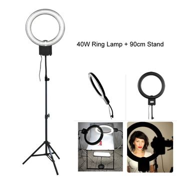 Studio 34cm 40W 5400K Diva Video Ring Light with 90cm Tripod Stand for Photography Camera Phone Photo Make Up Selfie Lighting