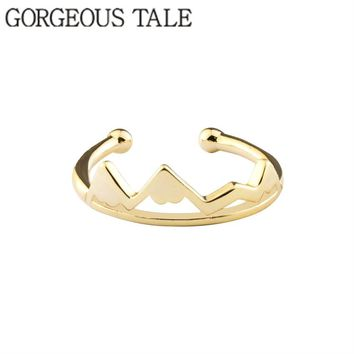 GORGEOUS TALE New Tiny Adjustable One Ring Minimalist Mountain Rings For Women Men Fashion Midi Rings Jewelry Mothers Day Gift