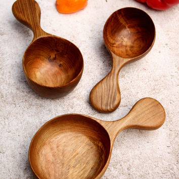 Wood Measuring Cups, Large Wood Scoops, Gourmet Kitchen, Farmhouse Kitchen, Italian Kitchen, Rustic Kitchen, Gift for Her