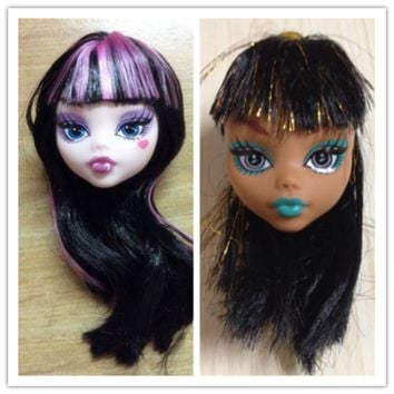 Kids Toy Demon Monster Doll Head with Wig Hair DIY Accessories For Monster High Doll For 1 6 BJD Doll House