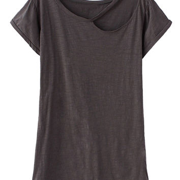 Gray Ripped Short Sleeve T-shirt