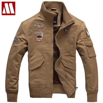 Mens Embroid USA Air Force Bomber Jacket Have Armbands Cool Men's Cotton Rib Mandarin Collar military Jackets