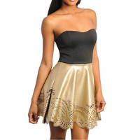 Faux Leather Floral Cut Out Skater Dress in Gold & Black