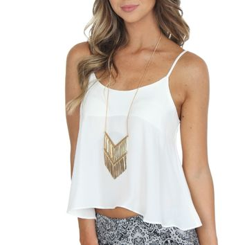 Classic Button Tank Ivory