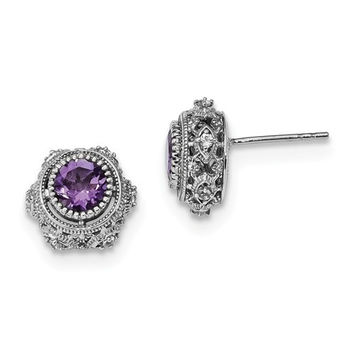 Sterling Silver Amethyst And White Topaz Post Earrings