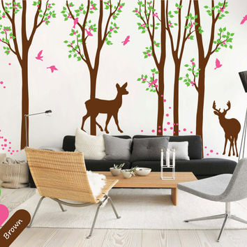 Winter Forest Pattern Tree Wall Sticker Walking Deers And Falling Leaves With Birds Art Wall Mural Kids Bbay Bbedroom Decor T-15