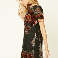 Velvet Appliqued Mini Dress