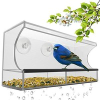 Window Bird Feeder with Removable Tray, Drain Holes and 3 Free Extra Suction Cups. Large Size, 100% Clear Acrylic. Easy to Clean. Great Gift. Guaranteed For All Weather
