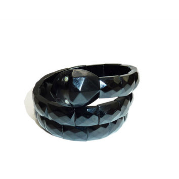Victorian Whitby Jet Wrap Around Snake Bangle