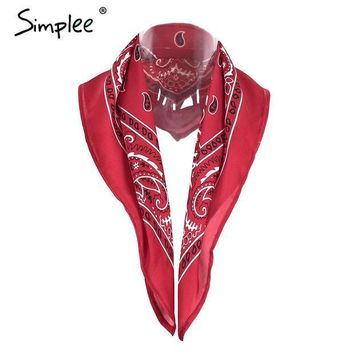 ICIKJG2 Simplee Satin square women scarf bandana Autumn 2016 red paisley print neckerchief hair band Hip hop black white headwear hijab