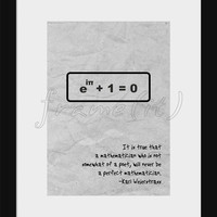 Science Art - 5 simple equations - Weierstrass quote on mathematical beauty and Euler's identity poster