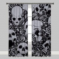 Drowning in Roses Skull Curtains or Sheers