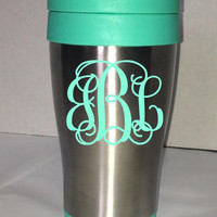 Monogram Travel Mug / Travel Coffee Mug / To Go Cup / Sippy Cup / Monogrammed / Customized / Personalized