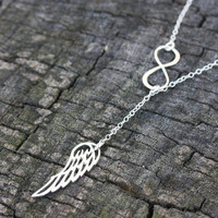 Angel Wing and Infinity Lariat - Sterling Silver Infinity Pendant . Silver Angel Wing . In Memory of Gift . Guardian Angel