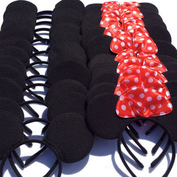 Set of 10 - Mickey Mouse Ears, Mickey Ears, Minnie Ears, Minnie Mouse Ears, Mickey Headband, Minnie Headband, Mickey Party Cups, Minnie Cups