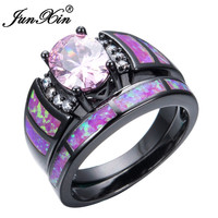 JUNXIN Romantic Pink Fire Opal Ring Sets For Women Bridal Black Gold Filled Wedding Party Engagement Promise Ring Love Jewelry