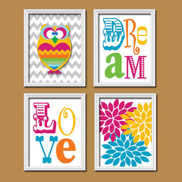Colorful Bold Owl Flowers Love Dream Quote Print Typography Artwork Set of 4 Prints Wall Decor Art Pictures Bedroom