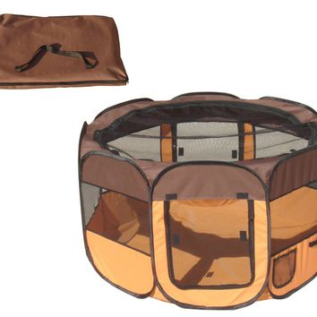 Collapsible Travel Pet Playpen [Brown And Orange]