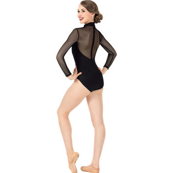 Womens Mesh Back Long Sleeve Leotard
