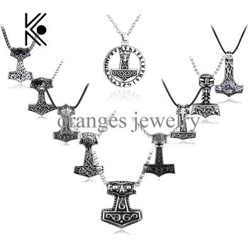 Cool Avengers Vikings Thor's Hammer Mjolnir Knots Viking Thor Male Viking Gothic Alloy Pendant Necklace supernatural Jewelry