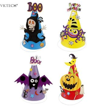Halloween DIY 3D Cartoon Colorful Paper Hat Children Kids Caps Toys Gifts Festival Holiday Party Hats Party Supplies Accessories
