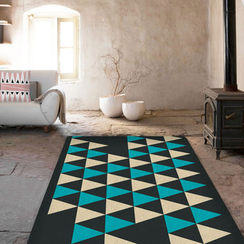 Blue Triangles Area rug - 5x8 Rug - Affordable area rugs