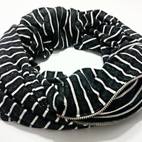 SCARFBAG Pocket Scarf - Distressed Black & White Stripe Jersey Blend Knit Infinity Scarf with Zipper Pocket