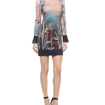 Long-Sleeve Ombre Sunrise Dress, Size: