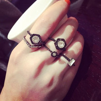 A Set New Design Fashion Women Silver Crystal Ring Wedding Engagement Gift Jewelry = 5988145601