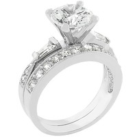 White Wedding Ring - White Gold Rhodium Bonded
