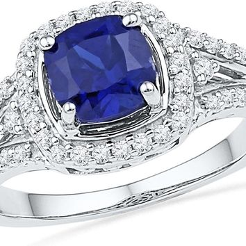 10kt White Gold Womens Lab-Created Blue Sapphire Solitaire Ring 2-1/12 Cttw