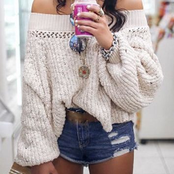 New Apricot Cut Out Off Shoulder Long Sleeve Oversized Pullover Sweater