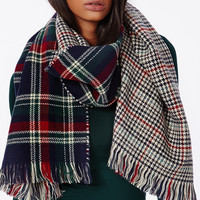 Reversible plaid & houndstooth scarf: blue, red, & green
