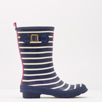 Mollywelly French Navy Stripe Mid-Height Printed Rain Boot | Joules US