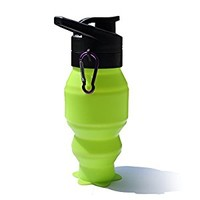 Cowin Collapsible Foldable Silicone Drink Sport Water Bottle Camping Travel Bicycle Bottle with Hook - 520ML