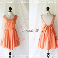 A Party - V Shape Style - Prom Party Cocktail Bridesmaid Dinner Wedding Night Dress Pale Orange Glamorous Cocktail Dress