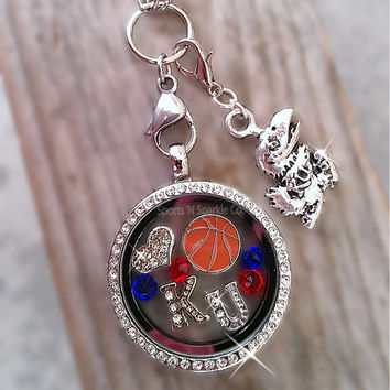 Collegiate Basketball Floating Keepsake Glass Living Locket