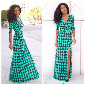 Green Wrap Tie-Waist Maxi Dress
