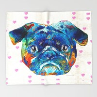 Pug Love Dog Art by Sharon Cummings Throw Blanket by Sharon Cummings | Society6