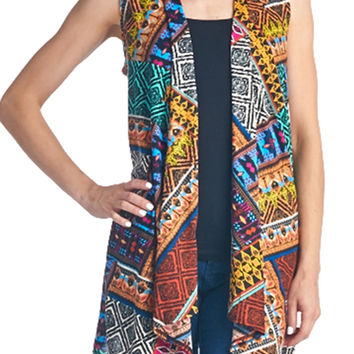82 Days Women'S Poly Rayon Super Comfortable Front Open Sleeveless Outwear - Print