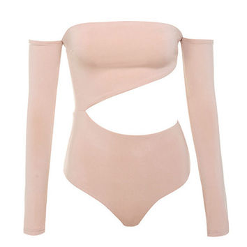 Clothing : Bodysuits : 'Ola' Blush Off Shoulder Cut Out Bodysuit
