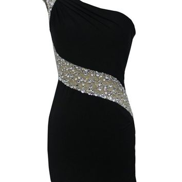 Staychicfashion Jewels Beaded One Shoulder Illusion Waist Fitted Jersey Dress