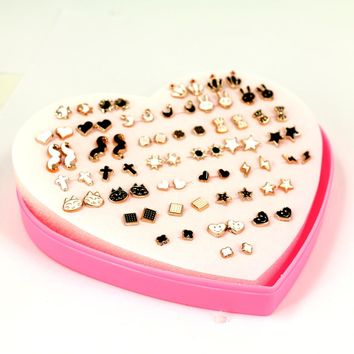 Free Shipping Cheap Plastic Anti Allergy Oil Drawing Mixed Designs Plastic Stud Earrings 36pairs/Box Packing