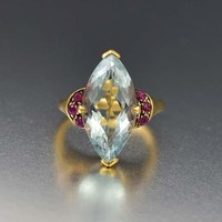 Superb 14K Gold Estate Aquamarine and Ruby Ring