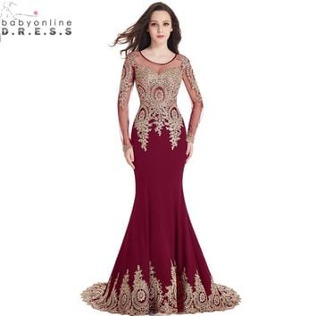 Real Image Cheap Burgundy Long Sleeve Mermaid Lace Prom Dresses 03ac57a883c6